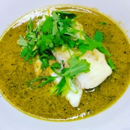 green chilli and coconut curry sauce, with steamed monkfish & brown coriander rice