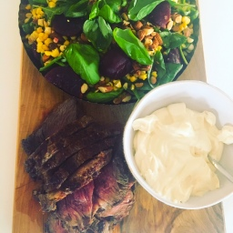 scotch fillet, with beet, corn, spinach, almond & basil salad served with smoked feta cream
