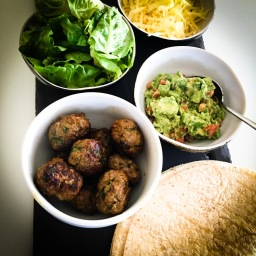 indian inspired meatball wraps, with coriander guacamole, and… other stuff