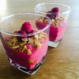 refined sugar-free raspberry and coconut parfait