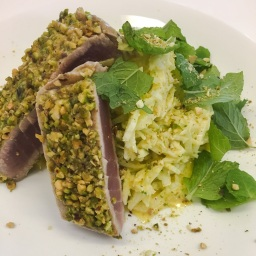 pistachio crusted tuna steak, with fennel, lime, ginger aioli remoulade & fresh mint