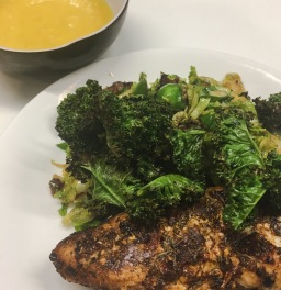 cajun chicken, garlic & bacon brussel sprouts, with kale chips & lemon mayo