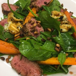 moroccan lamb with roast carrots, haloumi and mint mayonnaise