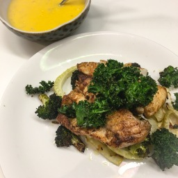 pan fried monkfish with garlic roasted broccoli and fennel, kale chips and a beurre blanc sauce