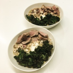 roasted broccoli, fennel & aged cheddar soup with pork fillet, hazelnuts & kale chips