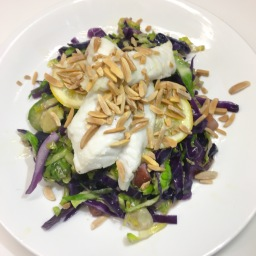 baked monkfish, with garlic & bacon brussel sprouts, red cabbage and toasted almonds