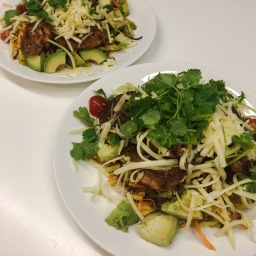 mexican chicken thighs, with chipotle slaw, avocado & fresh coriander