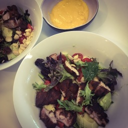 five spice chicken, avocado & macadamia salad with confit garlic mayo (keto)