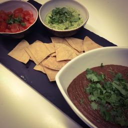mushroom mole, with guacamole and crispy corn tortillas (vegan, gf)